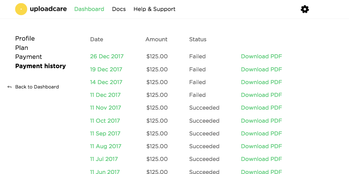 Payment history in your Dashboard