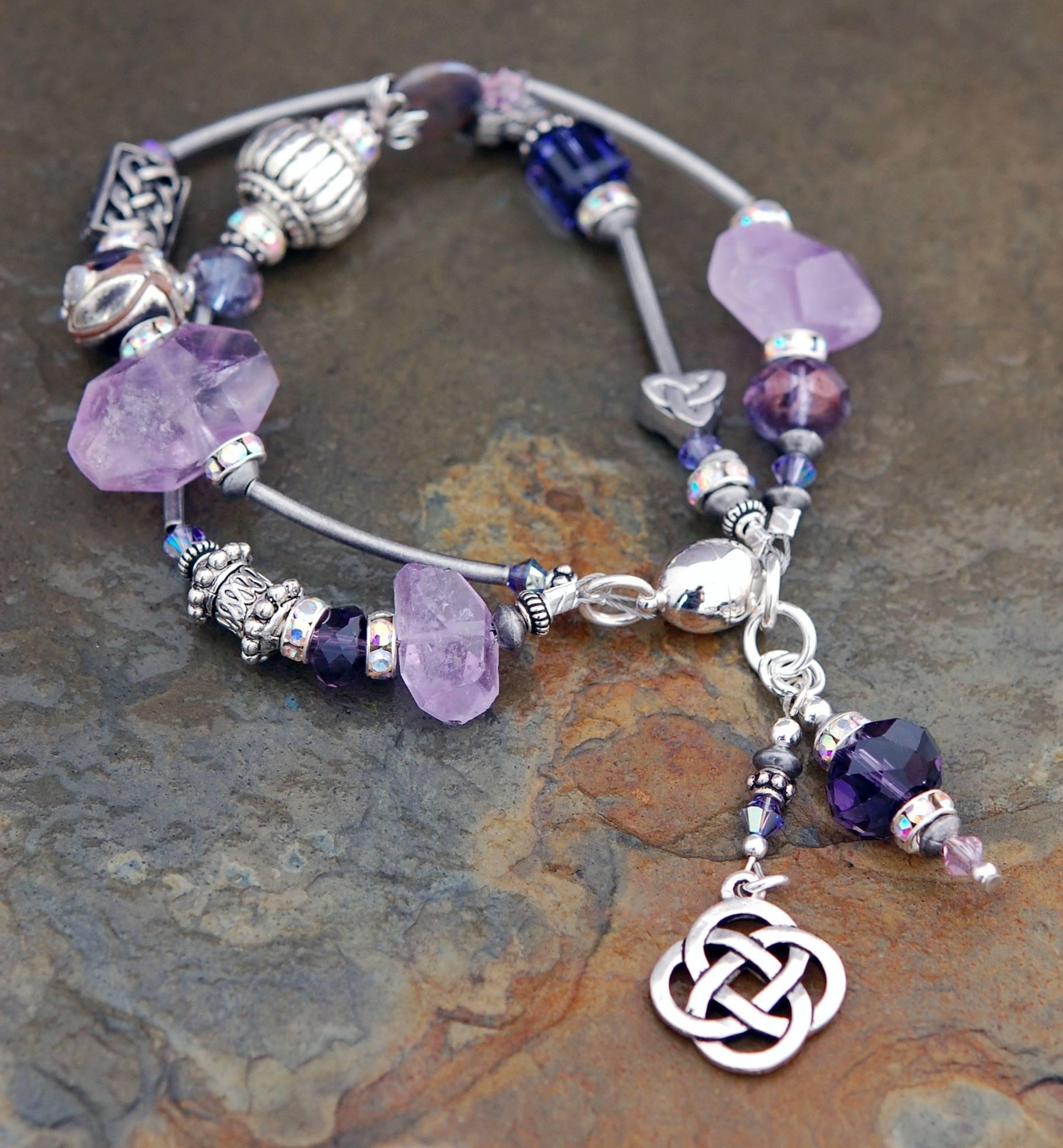 The Celtic Jewelry Studio Cliodna Double-strand Amethyst Bracelet Celtic Festival Online