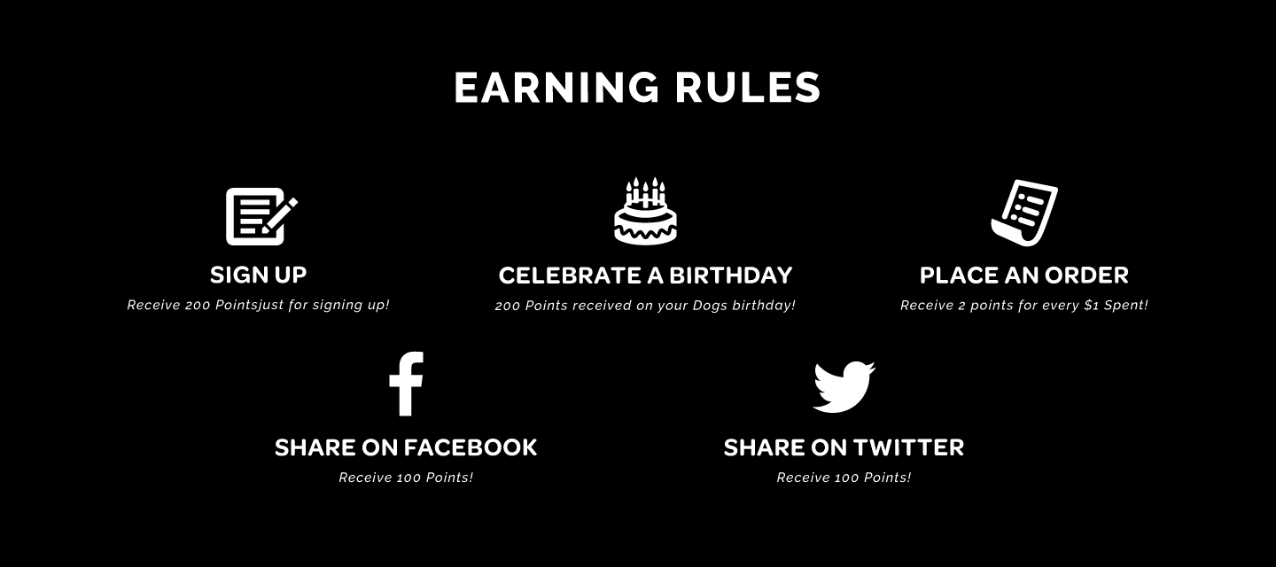 Sign Up Receives 200 points, Celebrate A Birthday Receives 200 points, Place an order , Receive 2 points for every $1 spent. Share on facebook, Receive 200 points. Share on twitter, Receive 100 points.
