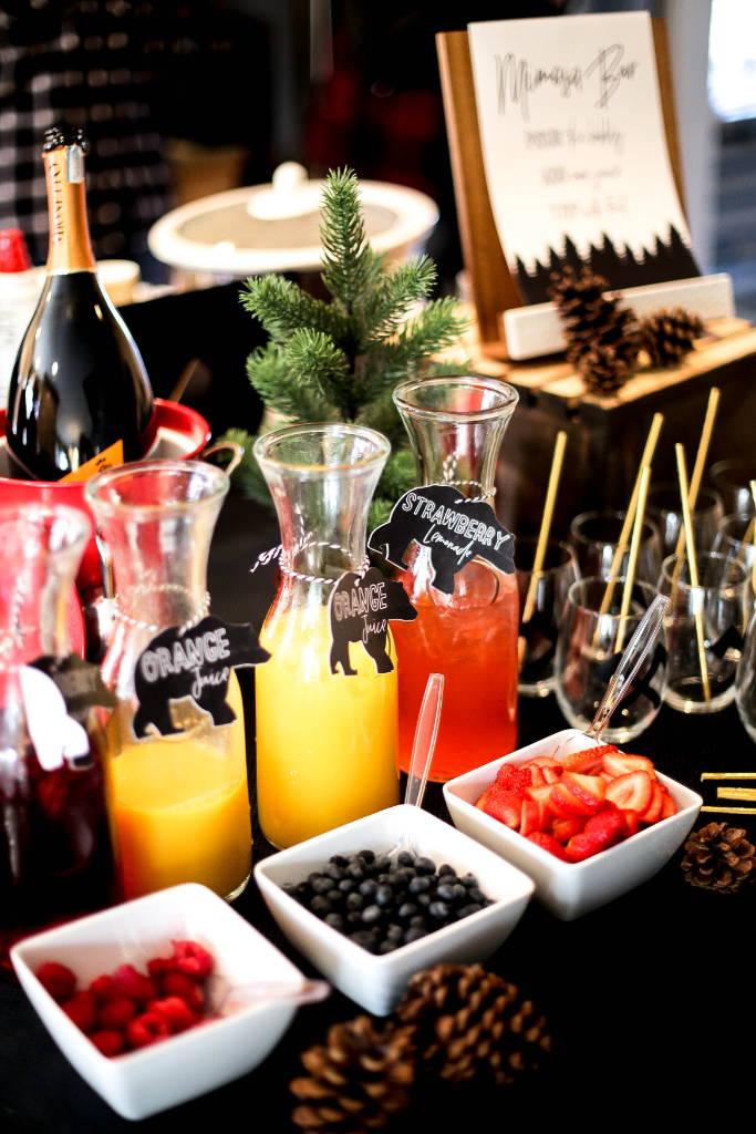 mimosa bar, birthday mimosa bar, mom-osa bar, baby bear, baby bear first birthday, designtwentyfive