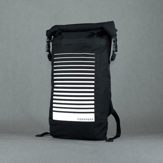 Большой черный рюкзак для города и путешествий / Black roll top Backpack