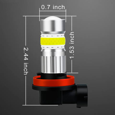 Alla COB-72 H8 H11 LED Fog Lights DRL Replacement H16 Dimension