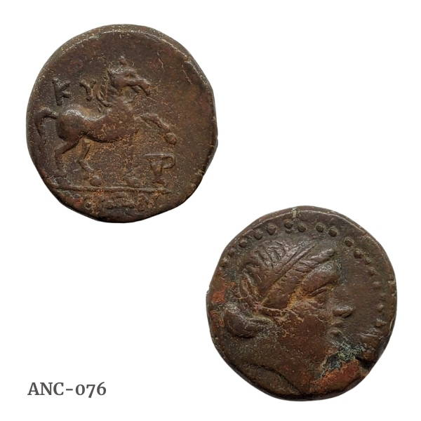 Ancient bronze coin from Aeolis Kyme horse with urn