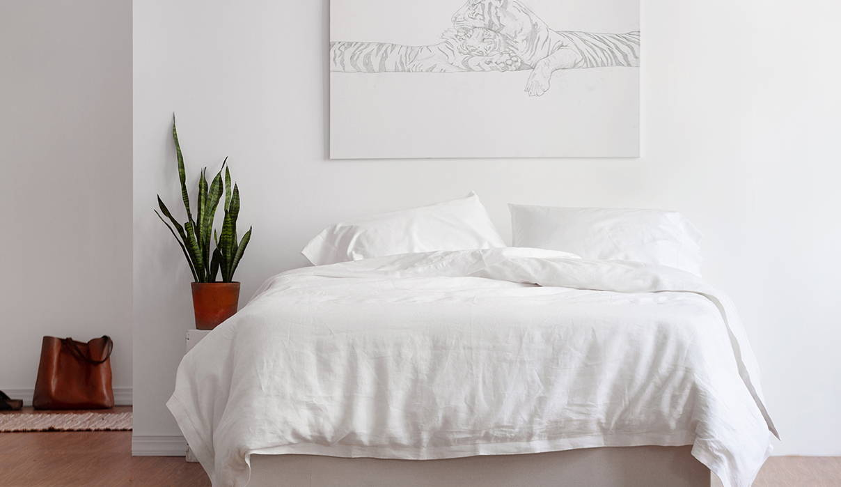 Real Bed mattress in bedroom with plant and tiger painting. Image