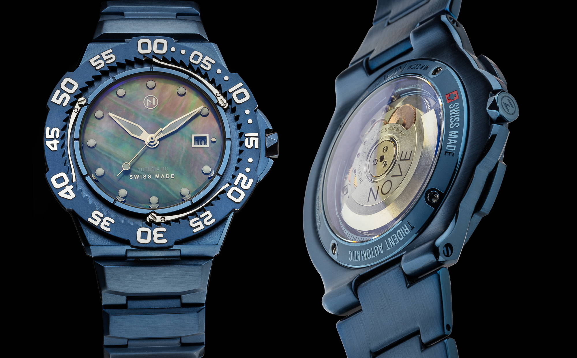 Blue slim trident automatic dive watch tool watch with beautiful Tahitian mother of pearl dial