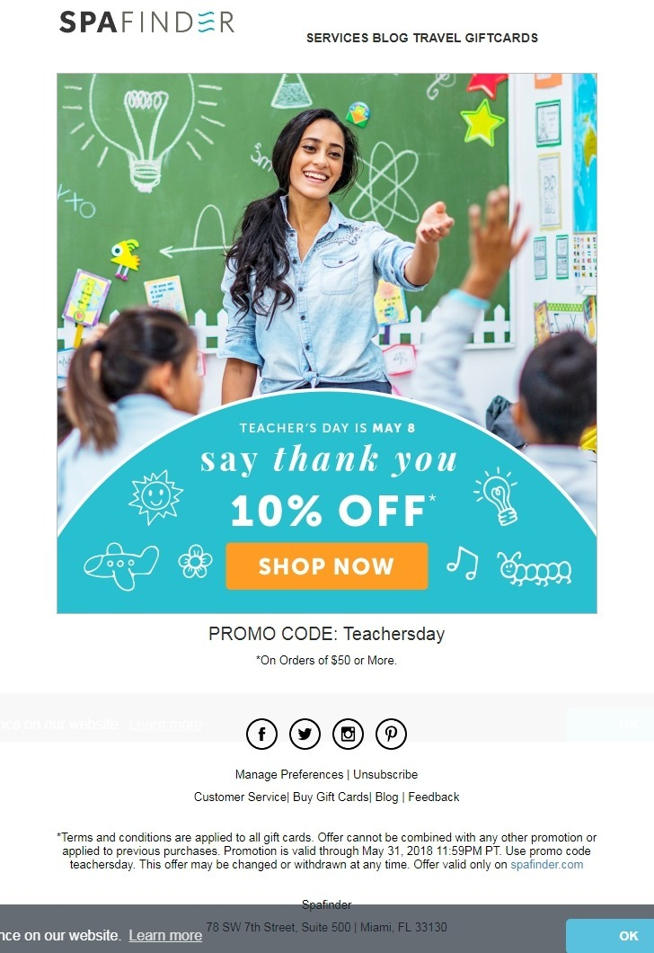 This Spa Finder email gets to the point with an attention-grabbing image, special promo code, and a large button that takes the subscriber to a landing page to complete a purchase quickly.