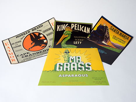 Produce Crate Labels from 1930s-1980s