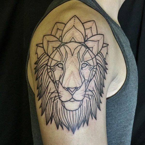 Tatouage Lion Mandala Epaule