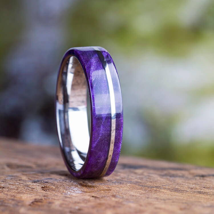 PURPLE BOX ELDER WOOD WEDDING BAND WITH TITANIUM PINSTRIPE