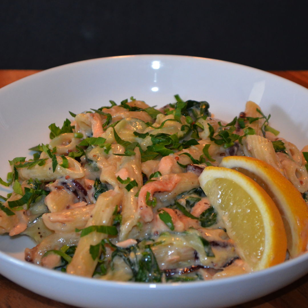 Date: 13 May 2020 (Wed) 121st Main: Creamy Salmon Penne with Lemon & Parsley [348] [162.3%] [Score: 9.8] Cuisine: Italian Dish Type: Main