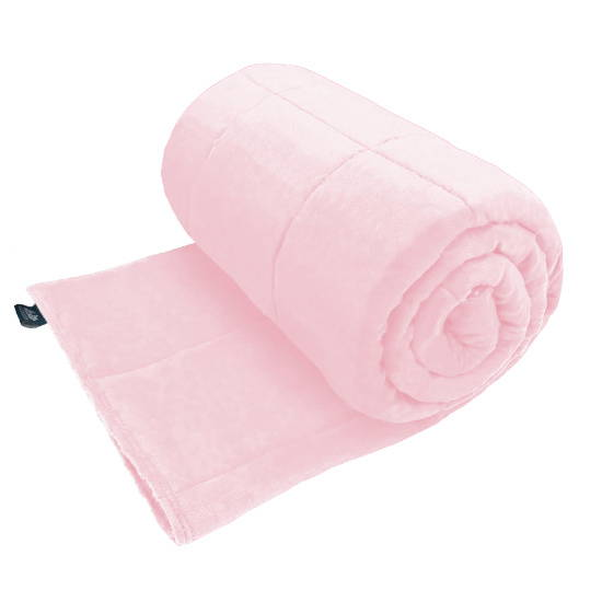 Calming Pets baby pink weighted blanket for a dog