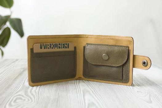 """Зеленый кошелек, портмоне из натуральной кожи """"Ветивер"""""""