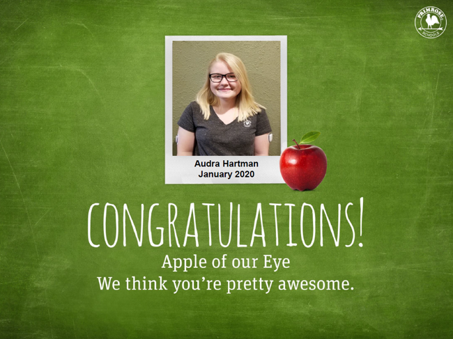 audra Hartman January apple of our eye