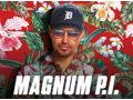 Magnum PI Large Crew Shirt, 1 water bottle, full cast autographed photo
