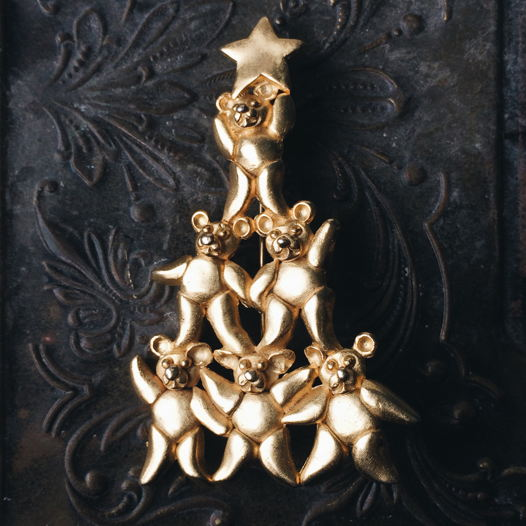 "Рождественское дерево ""Мишки Тедди"", брошь LIA, Америка"
