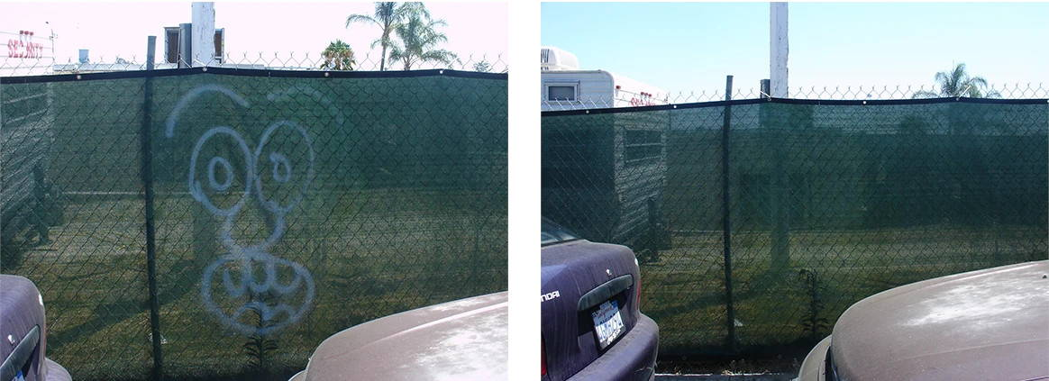 removing graffiti from hurricane and netted fencing