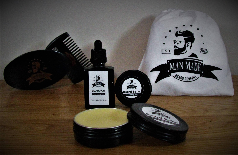 The Man Made Ultimate Beard Gift, Perfect For Any Bearded Man. Beard Balm, Beard Oil, Beard Brush, Beard Comb & Beard Cather All Included.