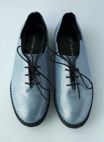 туфли Волна голубого цвета из натуральной кожи