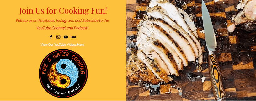 FreshJax organic spices and Fire and Water cooking podcast link with sliced chicken on cutting board