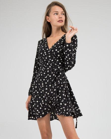 Черное платье со звездами, 100% итальянский шелк