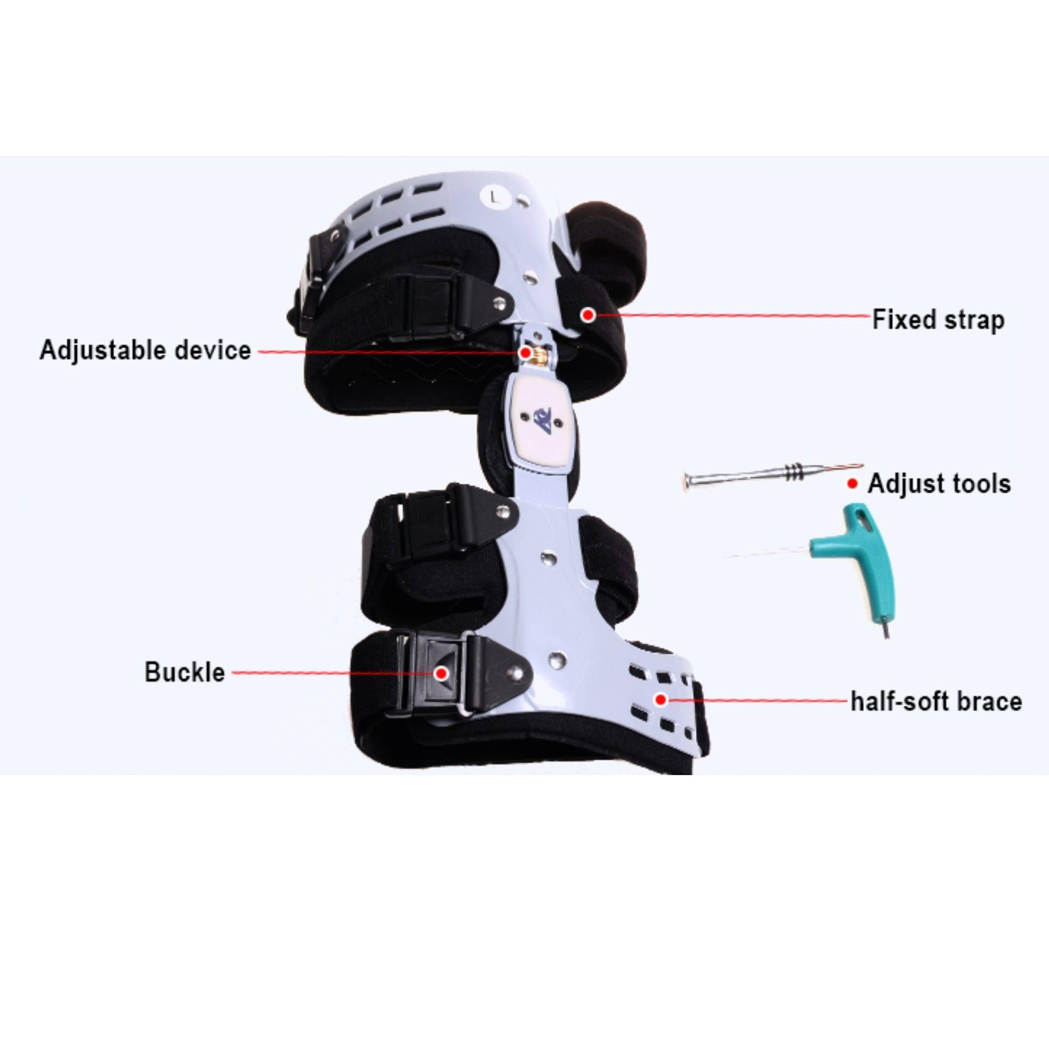 comfyorthopedic oa unloader knee brace includes adjustment tools, fixed starps, buckle, suspension sleeve and 13 hinge stops