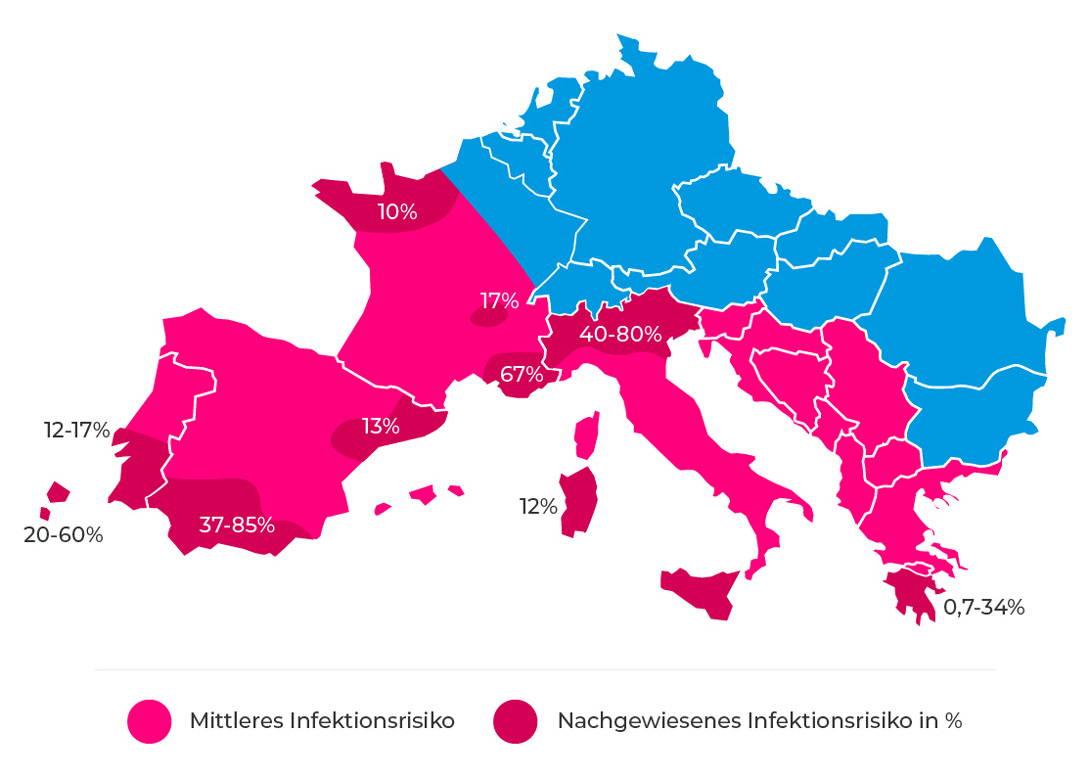 Herzwurm - Infektionsrisiko in Europa