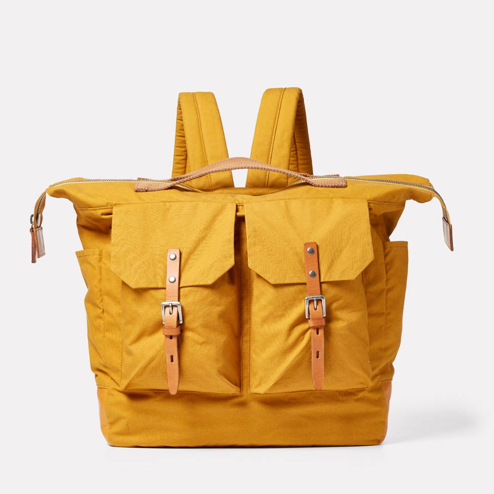 Frank Large Waxed Cotton Rucksack in Cumin
