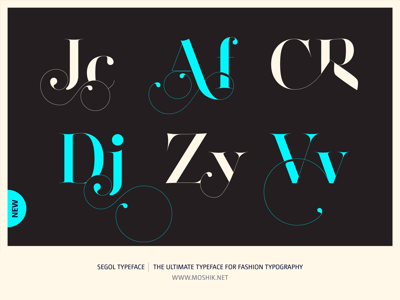 Segol Typeface, CR ligatures, Af ligature, Dj ligature, Vv ligature, fashion fonts, best fonts 2021, Must have fonts 2021, Moshik Nadav, Fashion logos, Vogue fonts
