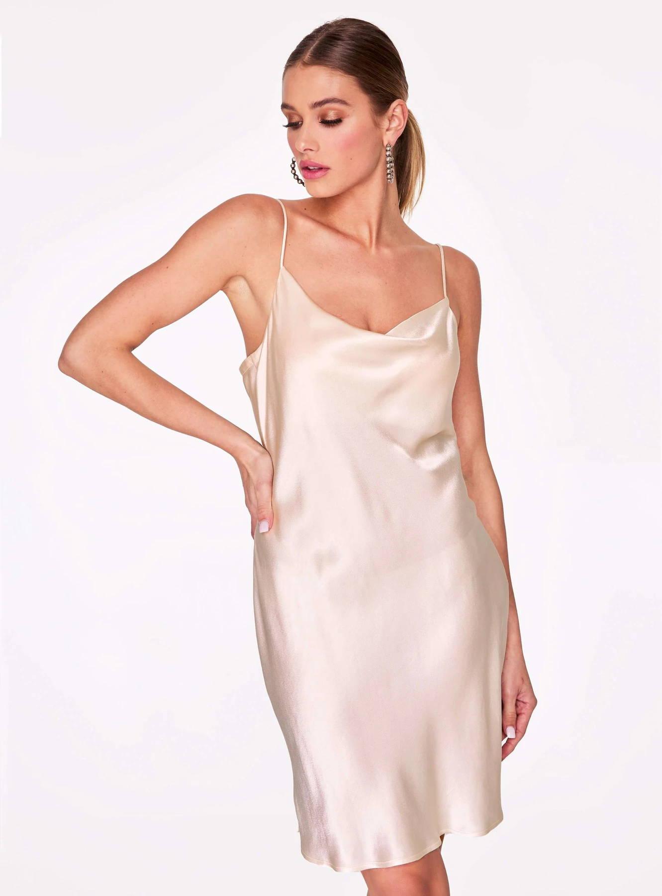 Crème Cowl Neck Satin Slip Dress