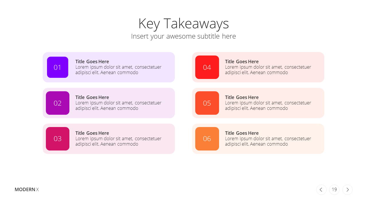Modern X Social Media Report Presentation Template Key Takeaways