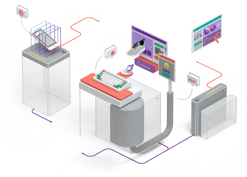 3D illustration of devices with online storefront and analytics interfaces