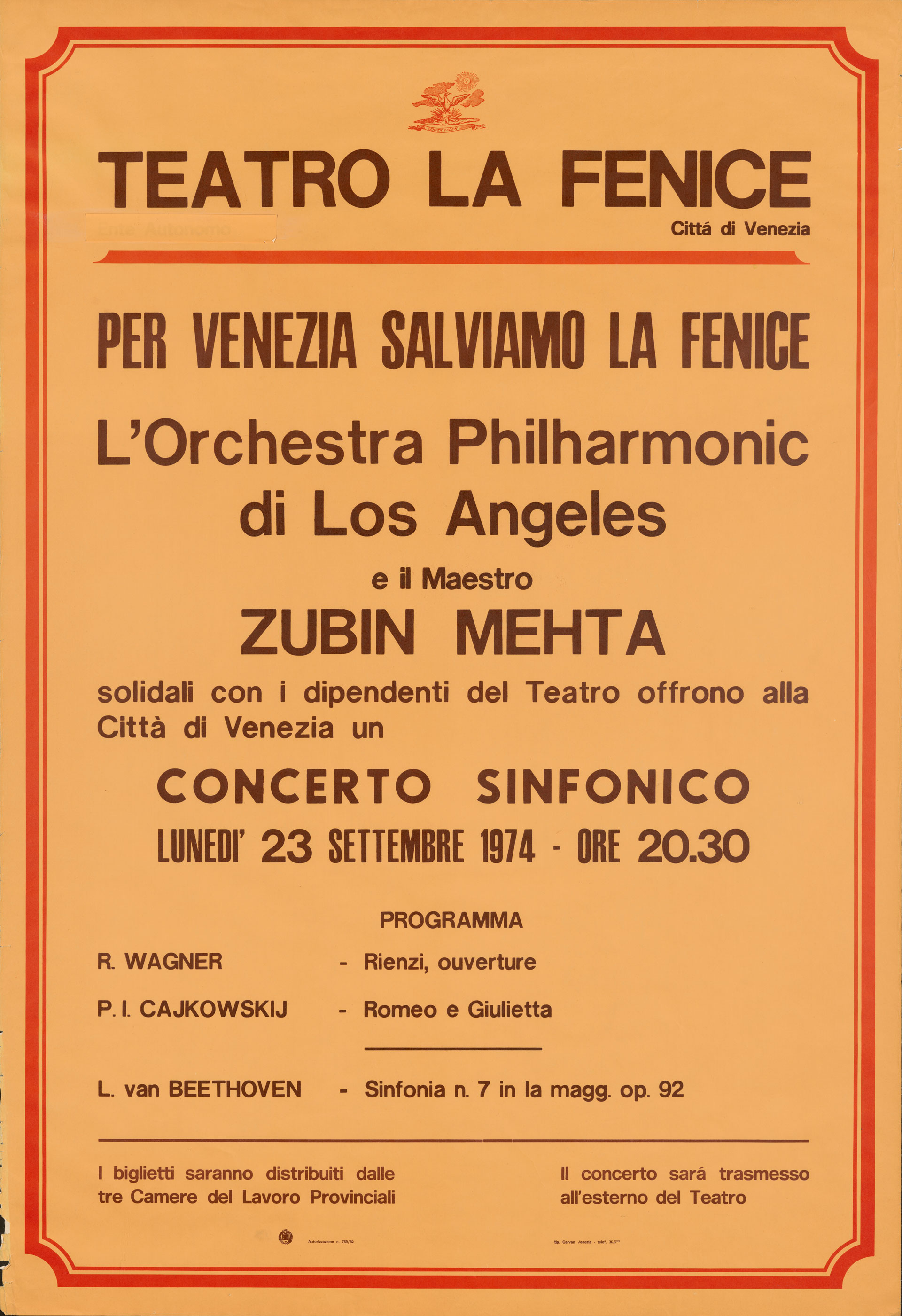 Poster advertising a benefit concert in Venice that was performed in solidarity with striking theater employees.