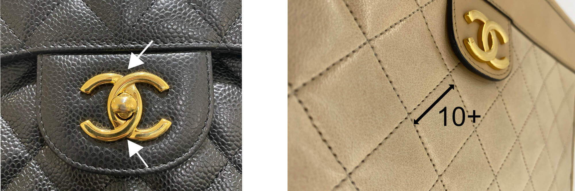 Authentic Chanel hardware and quilting examples