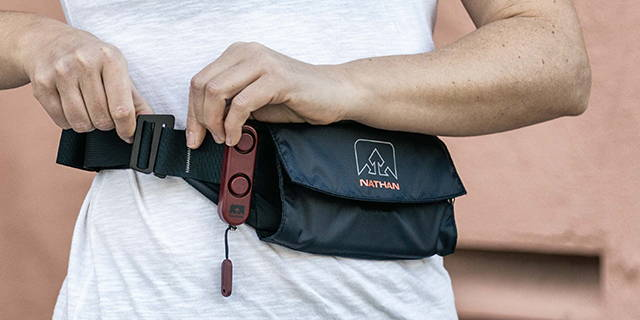 Mobile Lifestyle Image of SaferRun Waistpak with Siren