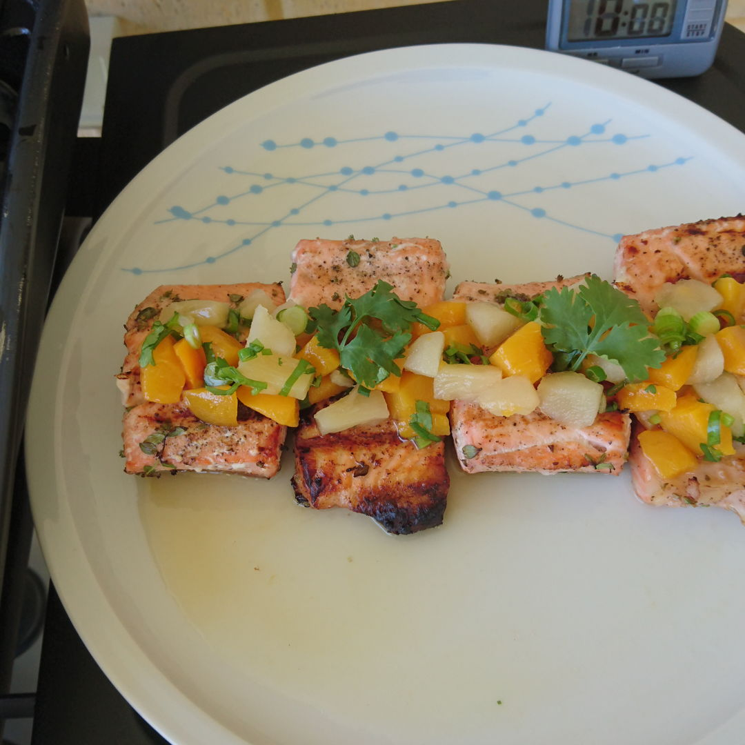 Date: 21 Dec 2019 (Sat) 50th Main: Barbequed Salmon with Fruit Salsa [150] [129.6%] [Score: 9.5]