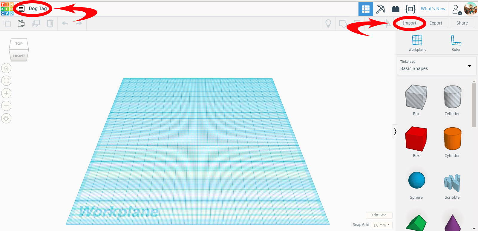 After Signing In To Tinkercad Youll Next Want To Import The Blank Dog Tag File Click The Import Link In The Upper Right Hand Corner Of Your Screen And