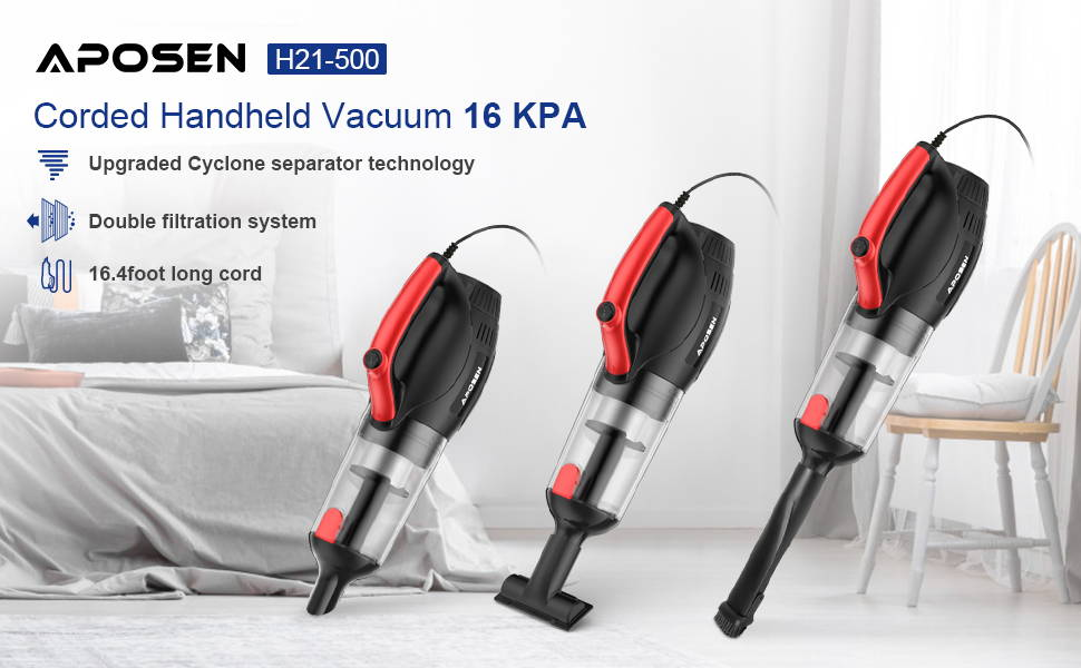 APOSEN 21Kpa Cordless Vacuum Cleaner Ultra-Lightweight & Quiet H21