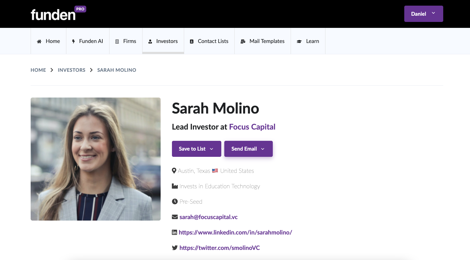 Single investor search funden ai contact vcs