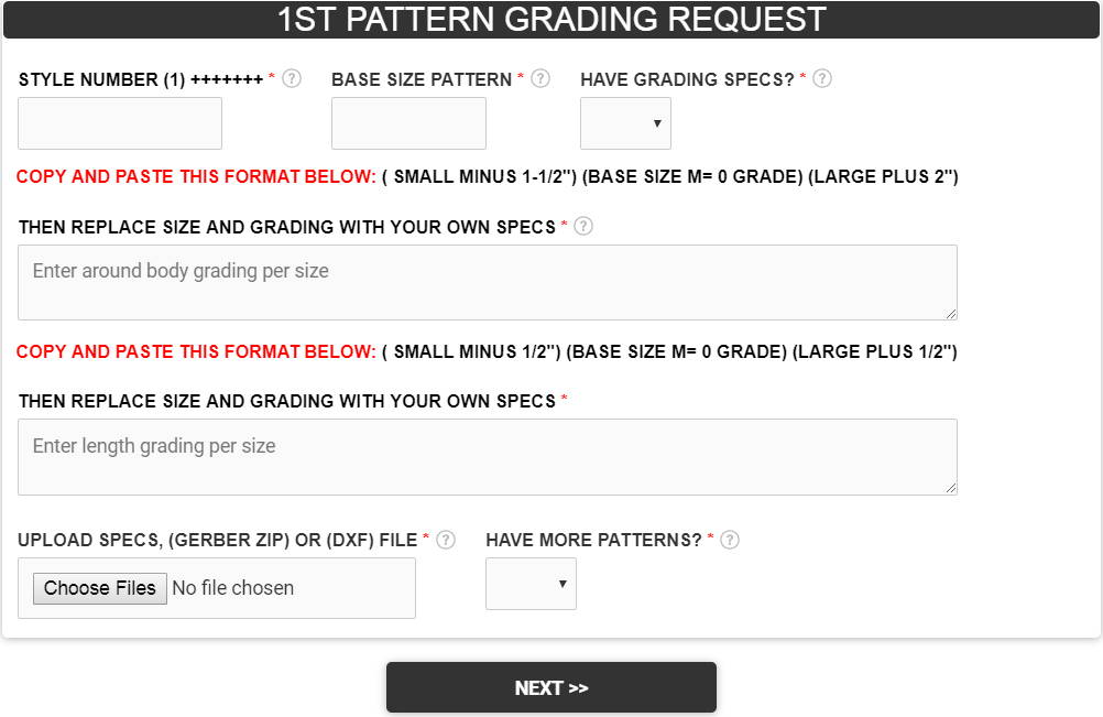 Pattern Grading Request Form