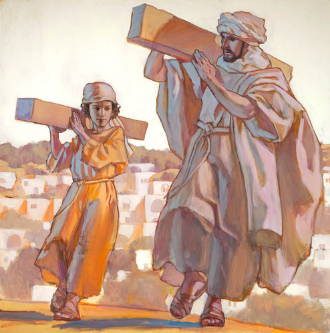 Painting of child Jesus and Joseph carrying lumber.