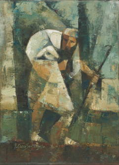Modern painting of thethe Good Shepherd carrying a lamb on his shoulders.