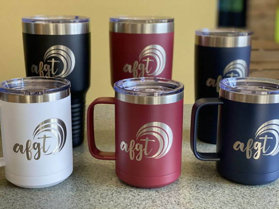 Promotional products for corporate clients custom logo coffee mugs tumblers water bottles happy customer testimonial for promo gifts at kodiak wholesale