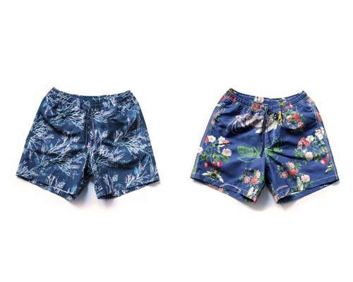 Mens blue sustainable drawstring boardshorts with bold patterns from sustainable mens swimwear brand Riz