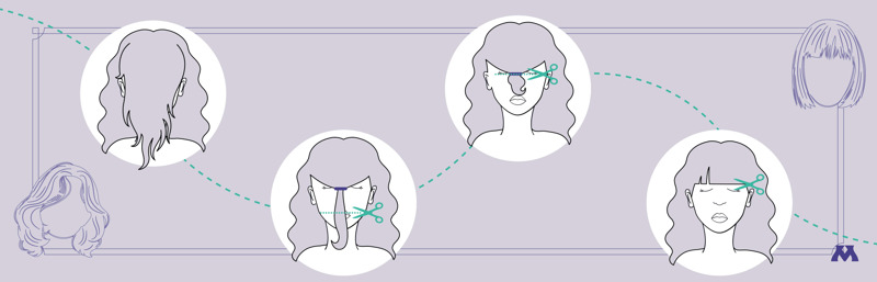 graphic showing how to cut bangs into a wig