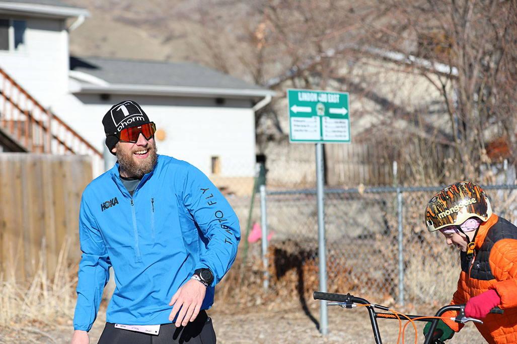 James in running jacket