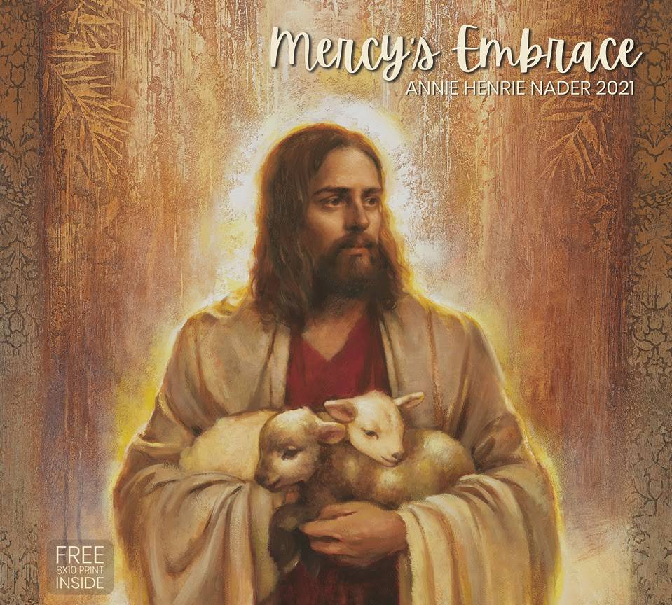 Annie Henry Nader's 2021 calendar cover. Jesus carries two lambs.