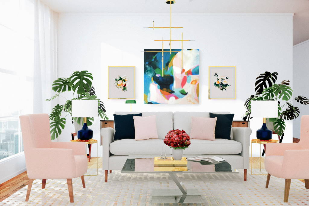 Felicity abstract art print by Parima Studio in styled living room with pink arm chairs and beige sofa
