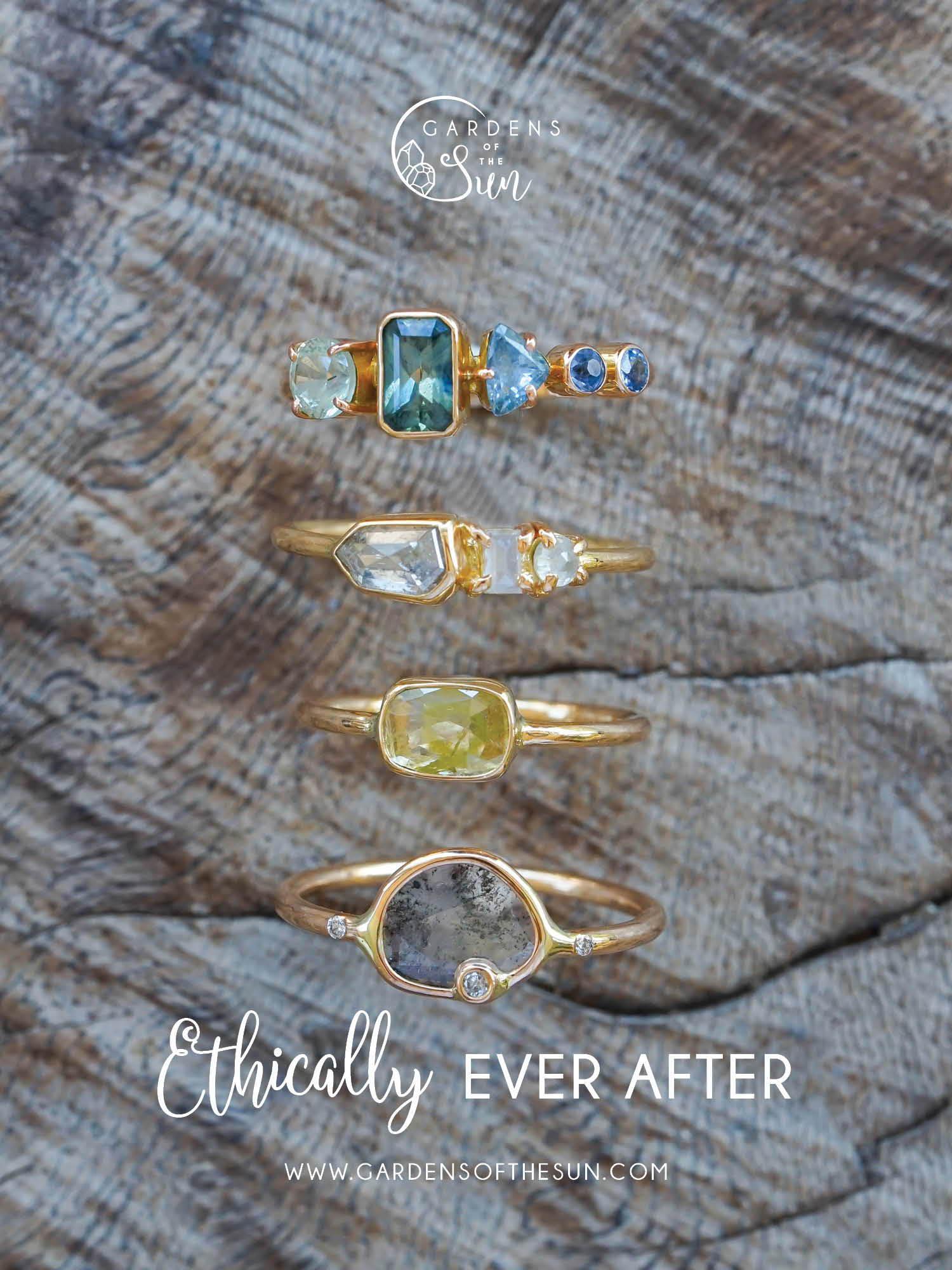 Ethical gold rings and other ethical gold jewelry from Gardens of the Sun.
