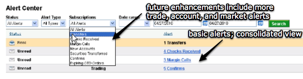 Alert dashboard will be enhanced with more trade, account, and market alerts.