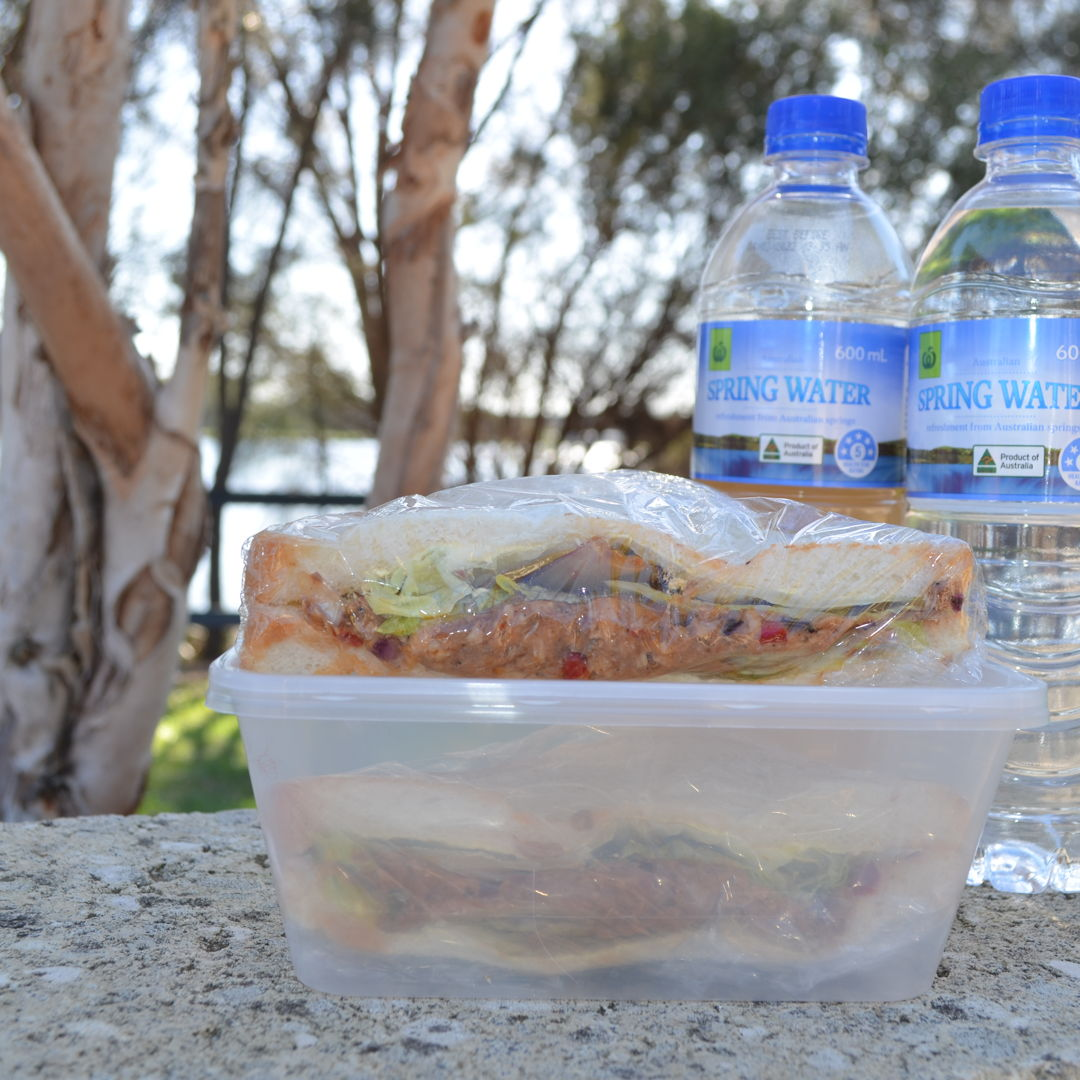 Date: 25 Jun 2020 (Thu) 5th Sandwich: Sardine Sandwich [397] [162.8%] [Score: 10.0] Cuisine: Malaysian Dish Type: Sandwich  Made the sandwich for picnic at Canning River Regional Park West. Distance travelled by bike = 33.6km; distance travelled walking = 7.4km; total distance travelled = 41.0km.  Image: At Fern Park Playground. Sardine Sandwich overlooking Canning River through paperbarks and casuarinas. Beyond is Shelley Bridge.